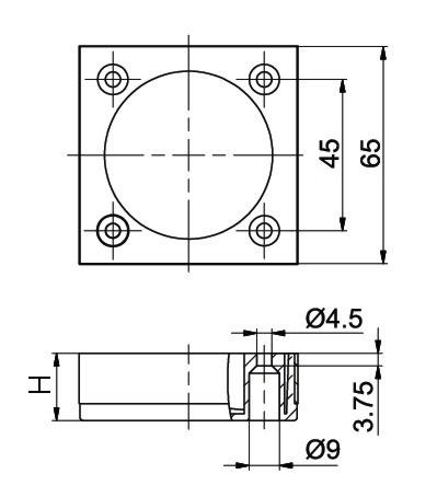 4-er SET 65x65 ALUMINIUM  MODERN Möbelfuß Möbelfüße Sofafüß Sockelfüß Schrankfuß
